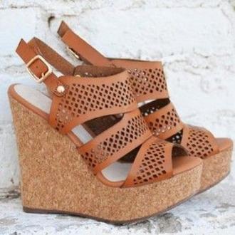 shoes cognac wedges