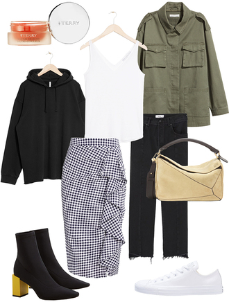 teetharejade blogger top jacket sweater skirt jeans bag shoes army green jacket midi skirt ankle boots hoodie tank top