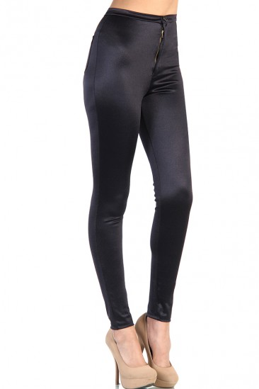 OMG Shiny High Waist Pants - Black