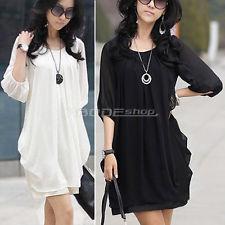 Fashion Elegant Womens Ladies Short Sleeve Chiffon Casual Mini Dress Tops | eBay