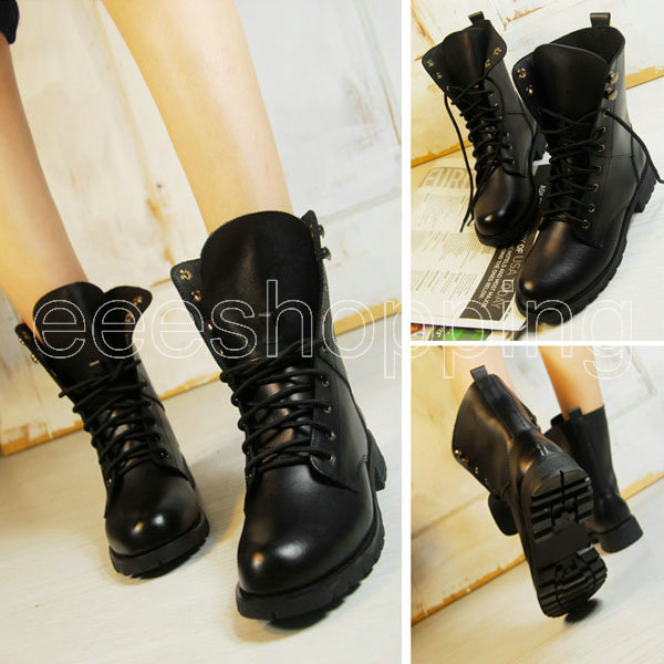 O062 Womens Ladies New Fashion Round Toe Cool Ankle Short Army Boots Flat Winter Autumn Shoes Lace up Black PU Leather Antislip-in Boots from Shoes on Aliexpress.com