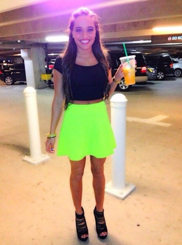 skirt bright neon green skirt cute fashion summer outfits concert crop tops spring outfits