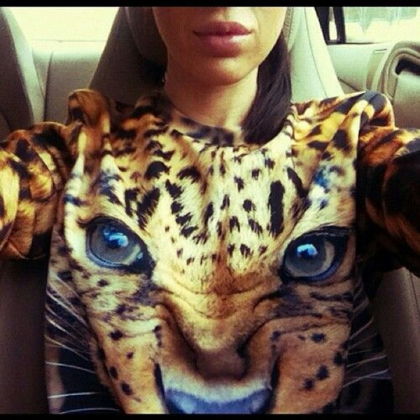 sweater oversized sweater lion sweater tiger sweater cute cute  outfits outfit leopard print