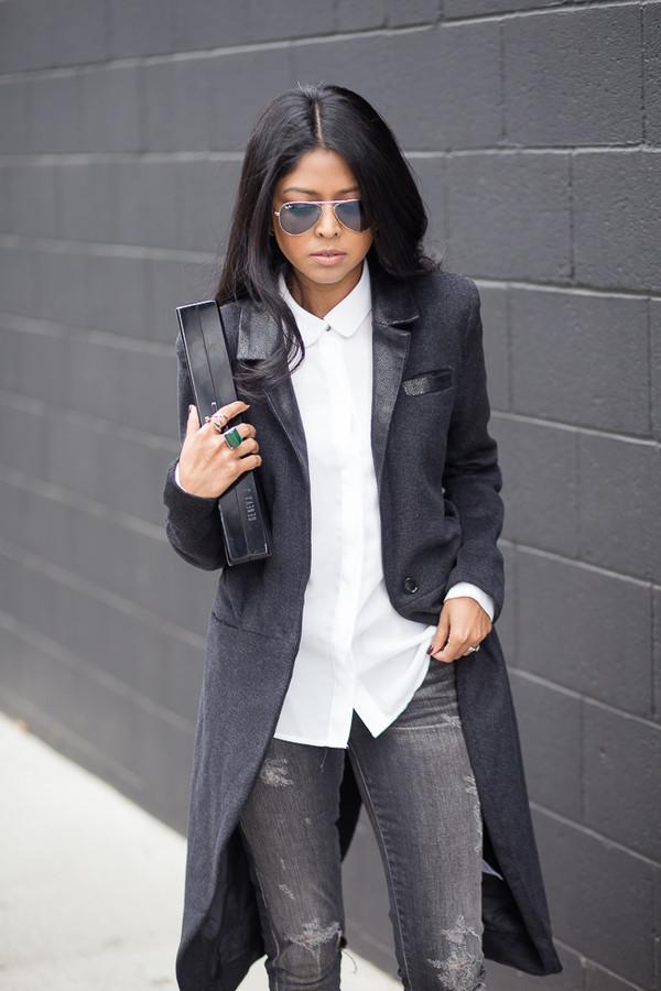 walk in wonderland shirt coat jeans shoes bag sunglasses