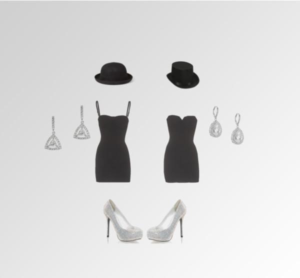 dress black hat heels rhinestones earrings little black dress