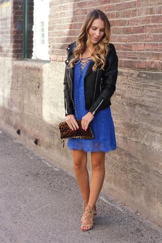 twenties girl style blogger dress jacket shoes bag blue dress lace dress black jacket animal print clutch mini dress
