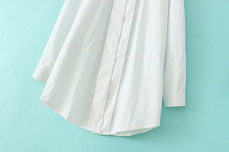 White Double Layers Lapel Long Sleeve Blouse - Sheinside.com
