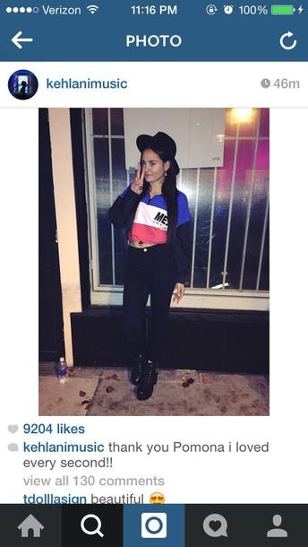 jacket blue black red white kehlani hat