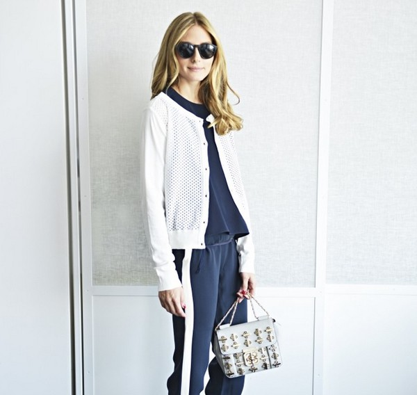 olivia palermo sweater pants top bag sunglasses