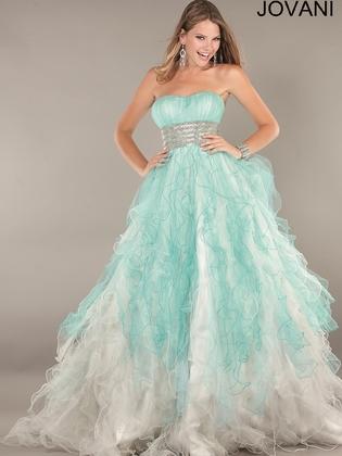 Strapless Two Tone Ruffled Skirt Prom Ball Gown Jovani 2225: DressProm.net