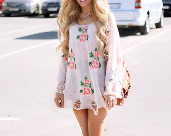 dress floral white flowers