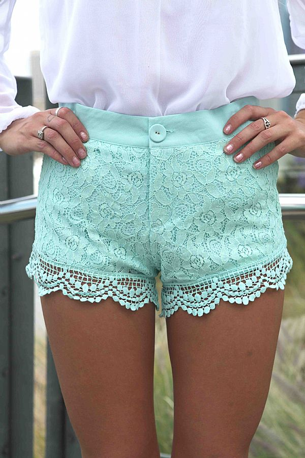 Teal/Turquoise Shorts - Mint Paisley Lace Overlay Shorts | UsTrendy