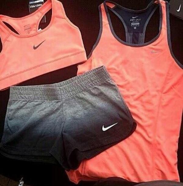 shorts nike sportswear t-shirt short nike pink running nike pro shorts top underwear sportswear sports shorts ombre tank top peach nike