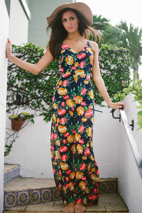 jumpsuit floral floral jumpsuit patterned jumpsuit summer summer jumpsuit bright color pink yellow beach outfit long jumpsuit lovely