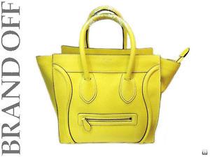 Used 100 Authentic Celine Yellow Leather Mini Luggage Handbag Tote Bag | eBay