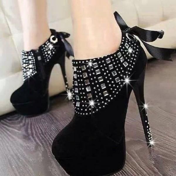 shoes black suede booties high heels black diamonds