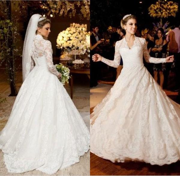 dress vestidos de noiva 2014 vestidos de noiva lace wedding dress vintage wedding dress long sleeves high quality wedding dress