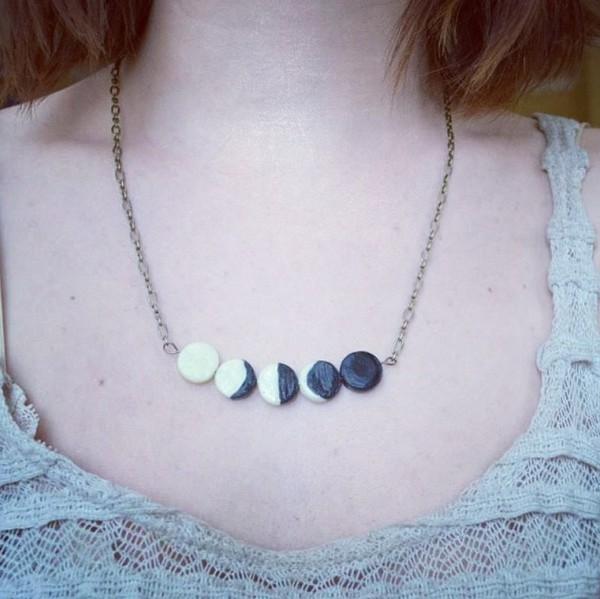 jewels black white moon phases necklace cute romantic