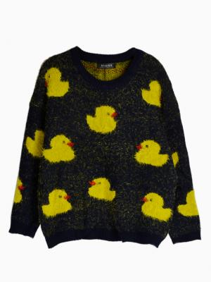 Blue Fluffy Knit Jumper with Yellow Duck Pattern | Choies