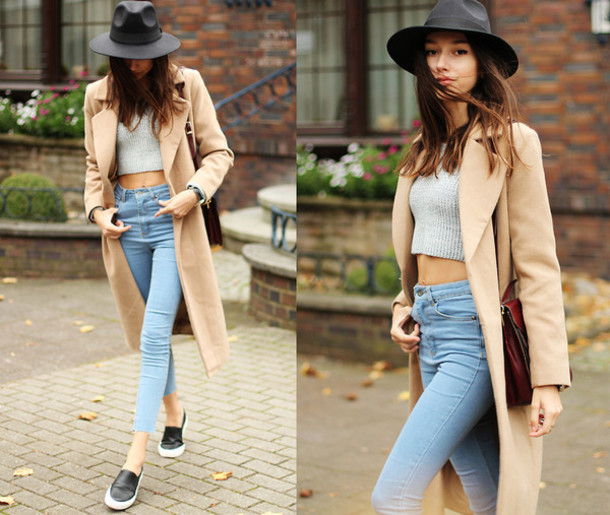 jeans denim coat beige hat crop tops cropped cropped sweater sweater High waisted shorts high waisted jeans sneakers shirt