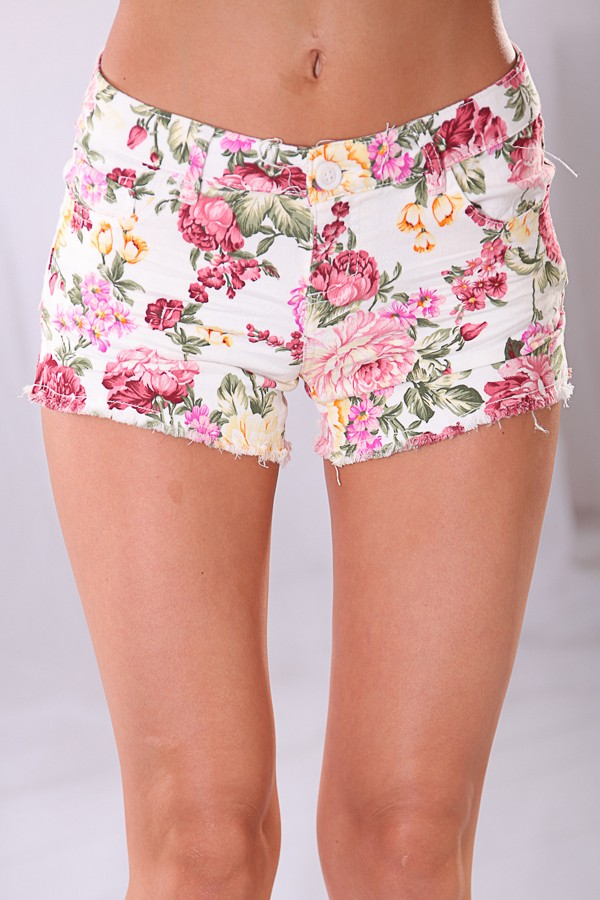 Multi Shorts - White Floral Print Knit Stretch | UsTrendy