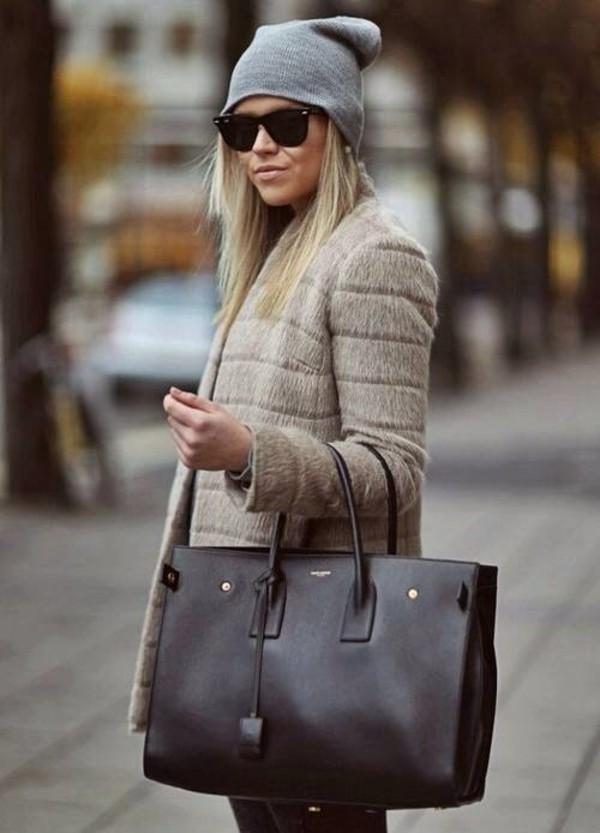 coat winter coat sunglasses bag hat