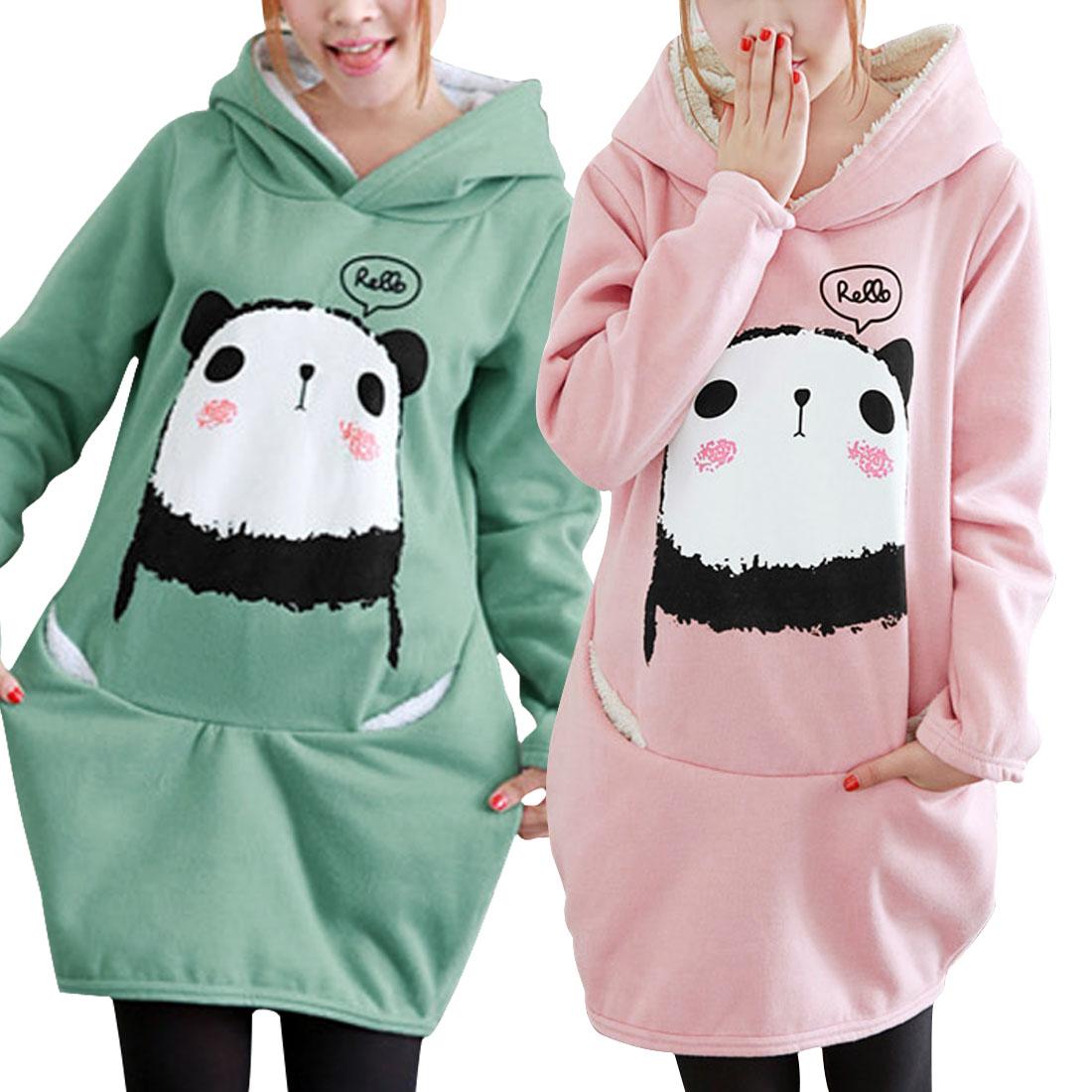 Cartoon Panda Pattern Cute with Lining Spring Hoodie for Women | eBay