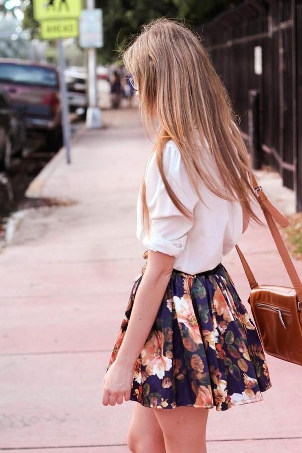 skirt floral cute boho girly summer blogger blogger style fashion streetstyle high waisted orange purple black white navy blouse white shirt