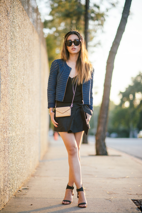 neon blush jacket skirt sunglasses shoes jewels tank top