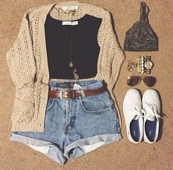 blouse shorts coat jewels sunglasses