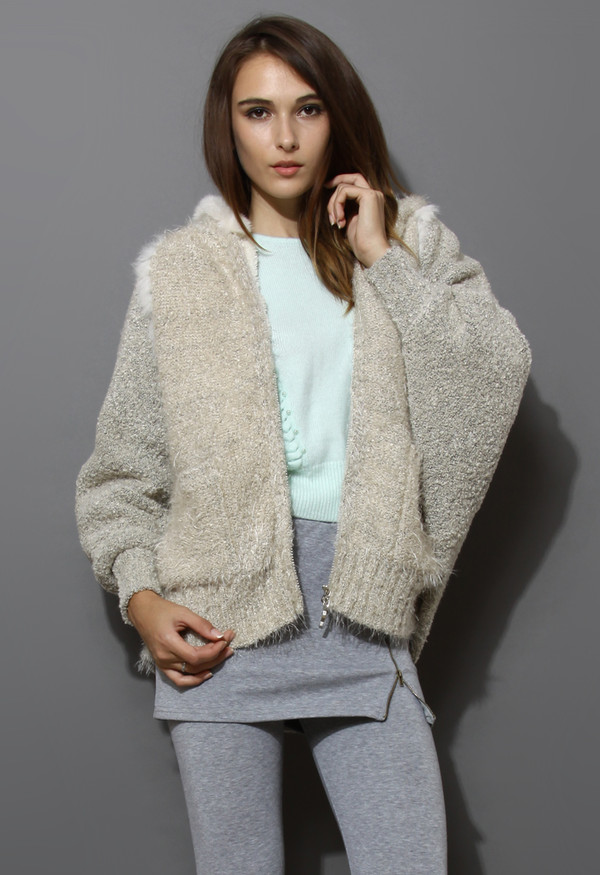coat fluffy knit hooded