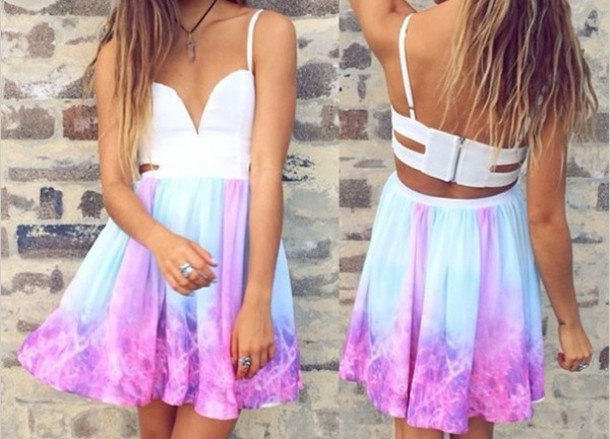 open back mini dress pink dress white dress summer dress summer outfits dress purple and blue tie dye cool fashion fabulous purple and blue skater dress tie die space .... tap at top luulla.com galaxy print pink purple blue white summer beach beach dress