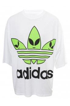 Jeremy Scott for Adidas   Oversized Alien Trefoil T-Shirt White   Online at Hervia.com