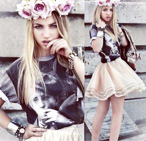 shirt aksinya air flower crown self made flower crown skirt t-shirt bag bracelets jewels ukraine