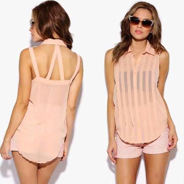 blouse chiffon chiffon blouse backless top chiffon cutout blouse