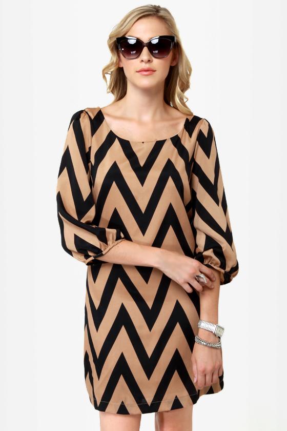 Cute Shift Dress - Chevron Dress - $42.00