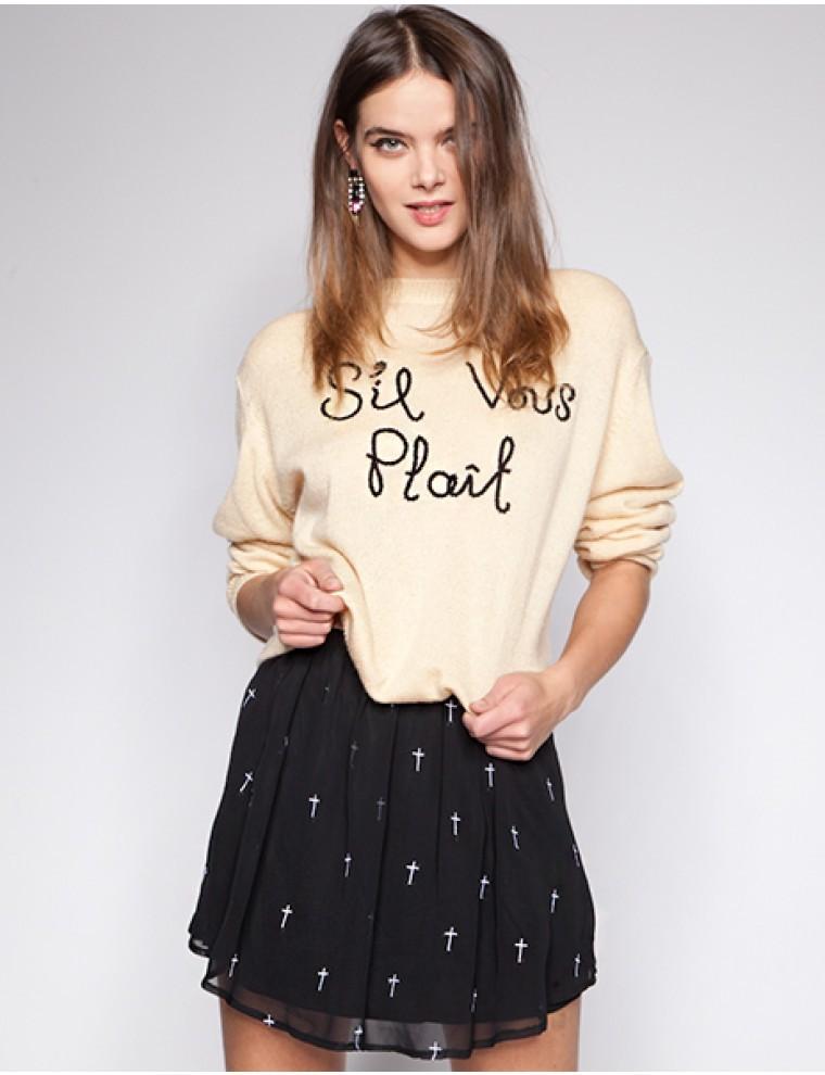 Reverse Cross Print Embroidered Chiffon Skater A-line Skirt Black Topshop NWT - Skirts