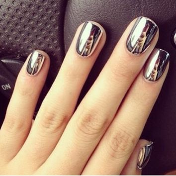2* Fashion Super Star Nail Art Polish Gold and Silver Metallic Foil Sticker Patch Wraps Tips 32 Pcs for Women Girls Wife on Wanelo