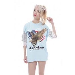 Sequin Mesh Sleeve Eagle Oversize Tee - Poodspoo