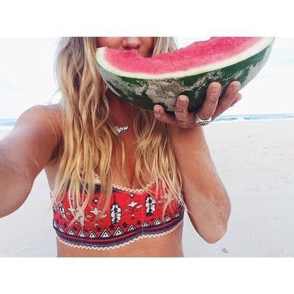swimwear beach hippie native american hipster boho bikini bandeau red lace