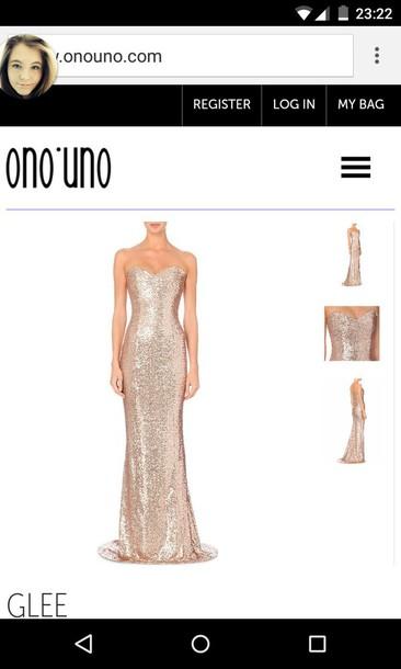 dress rose floor length dress sequin dress