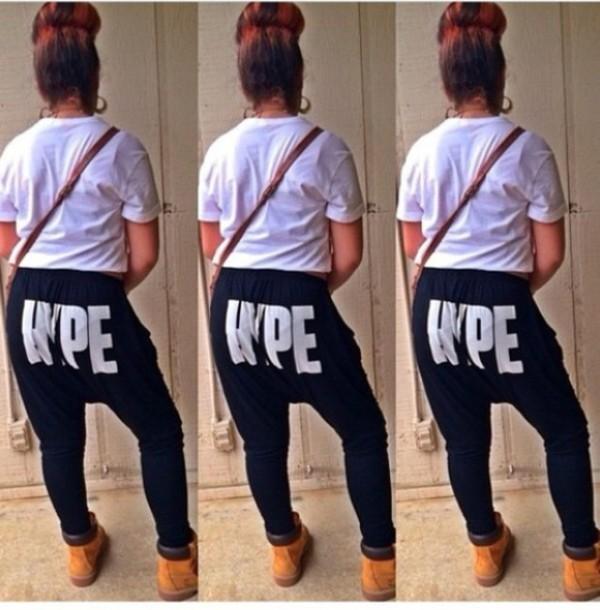 pants hype joggers white black