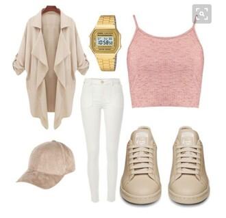 hat tank top pink nude beige coat jacket summer spring crop tops watch michael kors adidas