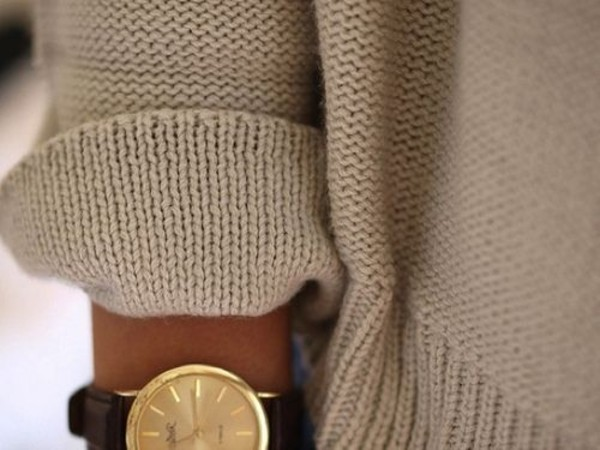 jewels watch gold sweater