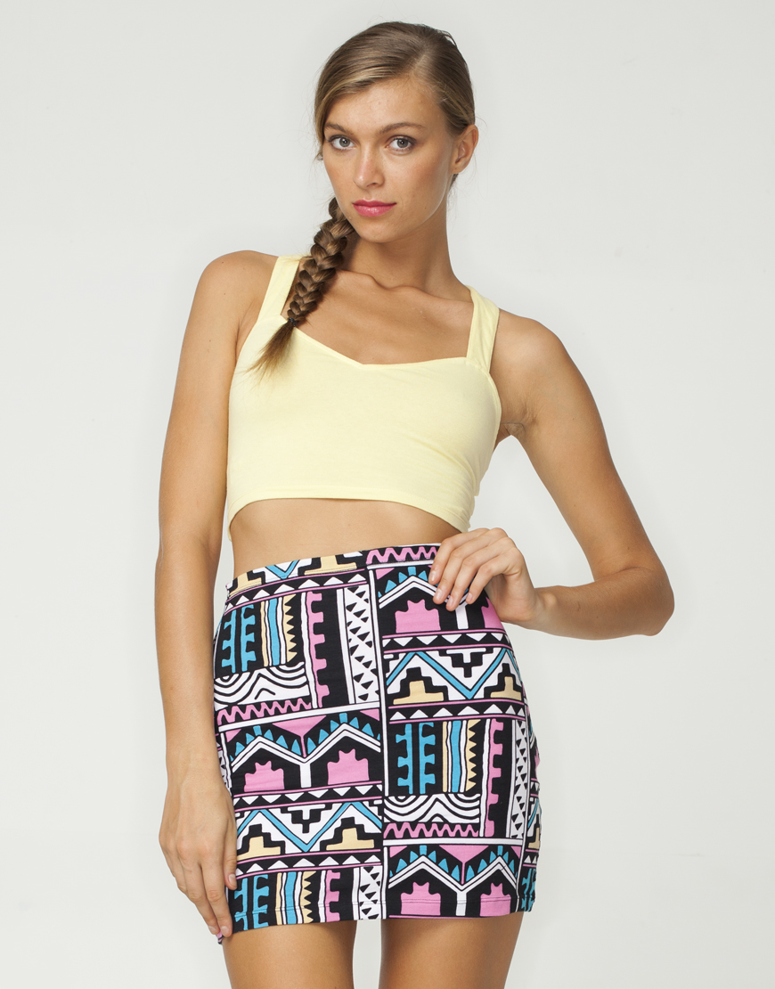 Buy Motel Kimmy Mini Tube Skirt in Aztec Pastel Print at Motel Rocks