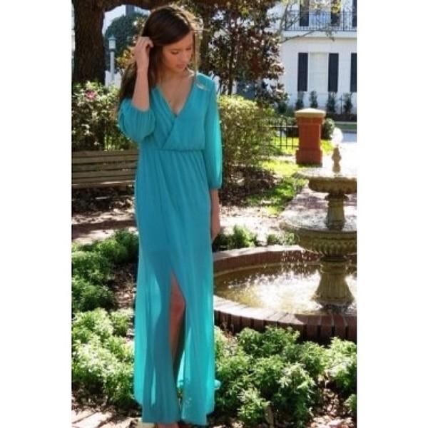 dress blue dress fashion style long dress maxi dress v neck dress slit dress flowy dress fashionista shopaholic