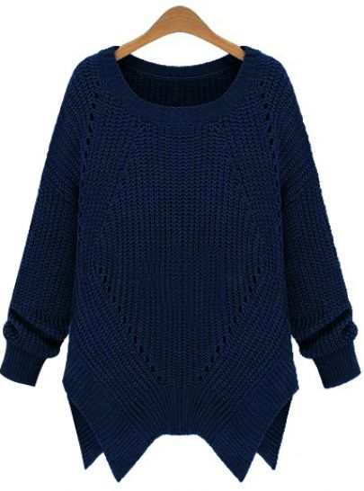 Blue Long Sleeve Hollow Asymmetrical Sweater - Sheinside.com