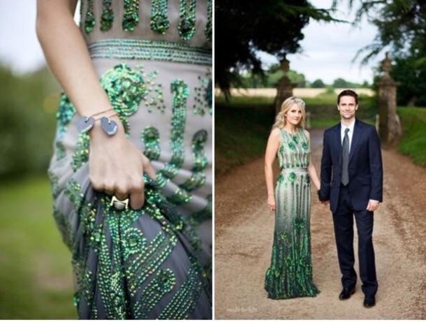dress emerald green wedding