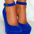 Ladies Cobalt Navy Royal Bright Blue Suede Bow Peep Toe Wedges High Heels Shoes | eBay
