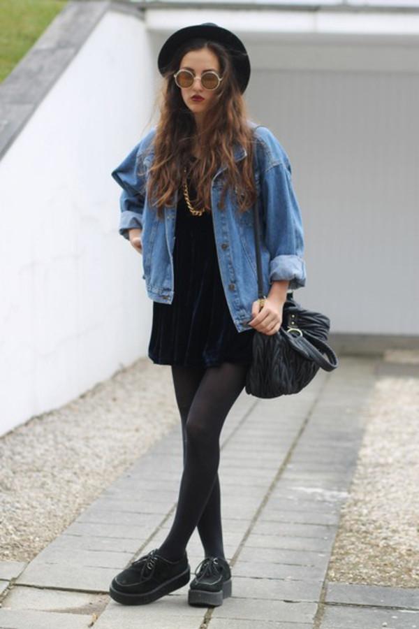 jacket denim denim jacket grunge indie hipster dark shoes sunglasses